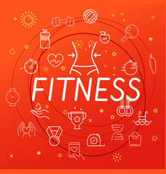 Fitness concept different thin line icons included vector