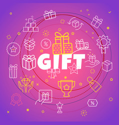 Gift concept different thin line icons included vector