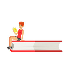 Micro young redhead woman sitting on a giant book vector