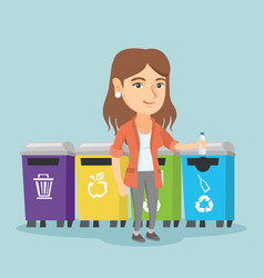 Young caucasian woman throwing out plastic bottle vector