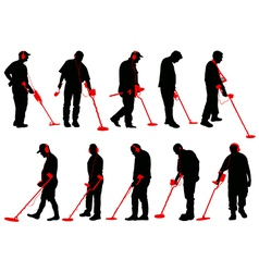 Metal detecting silhouettes vector