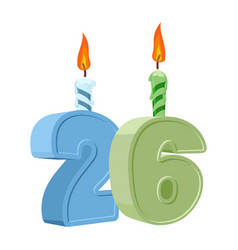 26 years birthday number with festive candle for vector image