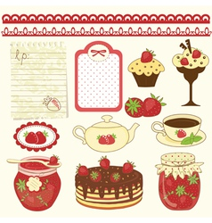 Set of strawberry design elements vector