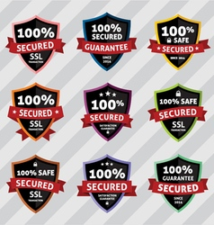 Ssl security secure shield badges vector