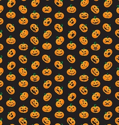 Seamless pattern from halloween emotional pumpkins vector