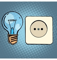 Electricity light bulb and socket vector