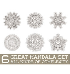 Set of Ethnic Fractal Mandala Meditation Tattoo vector image