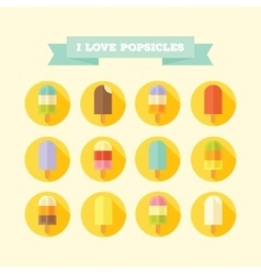 Flat icons set of tasty popsicles vector