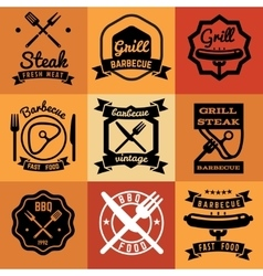 Barbecue party vintage emblems labels vector