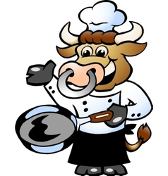 Hand-drawn of an bull chef cook holding a pan vector