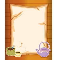 A paper with coffee and a kettle vector image