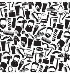 background pattern with barber salon or shop icons vector image