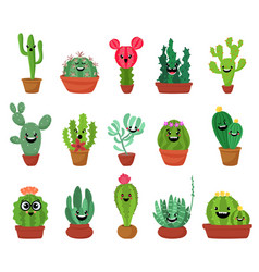 big set of cute cartoon cactus and succulents with vector image vector image