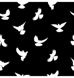 Birds silhouettes - flying seamless pattern Black vector image vector image