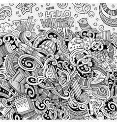 Cartoon cute doodles Winter season frame design vector image