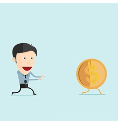 cartoon run with dollar coin in flat desi vector image