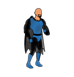 Cartoon superhero wearing suit cape boots image vector