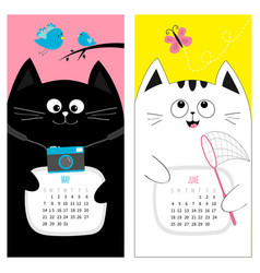 cat calendar 2017 cute funny cartoon character vector image