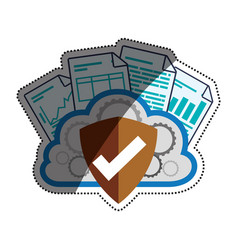 Cloud shield documents security vector