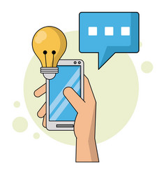 color background with hand holding smartphone and vector image