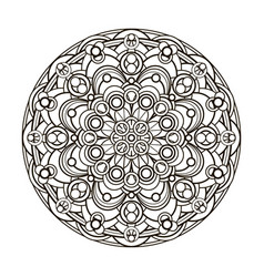 Contour monochrome mandala ethnic religious vector