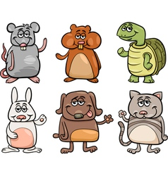Cute pets set cartoon vector