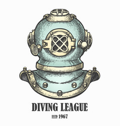 diving helmet drawn in vintage style vector image