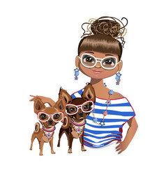 fashionable girl with a little dog vector image vector image