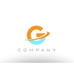 G orange blue logo icon alphabet design vector