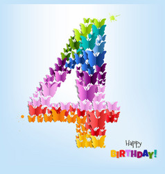 happy birthday postcard four years vector image vector image