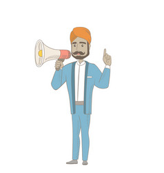 hindu businessman talking into loudspeaker vector image