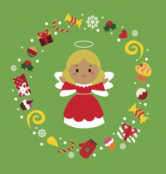 Holiday with cute angel vector image vector image
