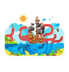 kraken sea monster and sinks ship design flat vector image