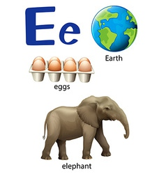 Letter E for Earth eggs and elephant vector image vector image