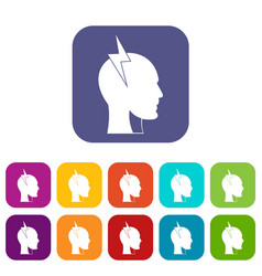 Lightning bolt inside head icons set flat vector
