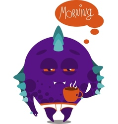 Monster whit a mug vector image vector image