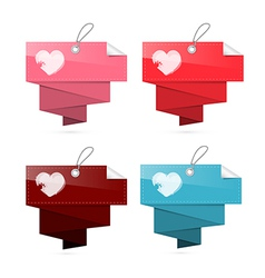 Paper Labels for Valentine Wedding with Hearts vector image