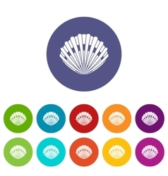 Pearl shell set icons vector image