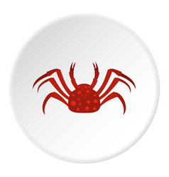 Red alaska crab icon circle vector
