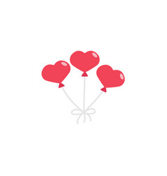 red hearth shaped balloons icon vector image