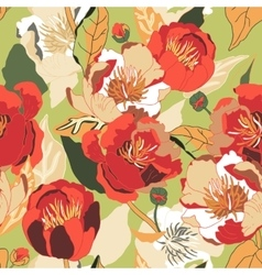 Seamless floral background isolated red flowers vector
