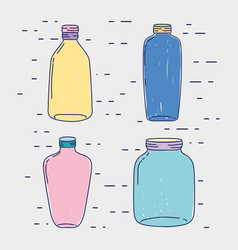 set jar mason glass with different shapes vector image