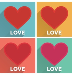 Set of flat typographic Valentines Day cards with vector image