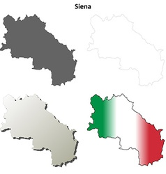 Siena blank detailed outline map set vector