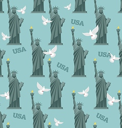 Statue of Liberty and pigeon seamless pattern vector image vector image