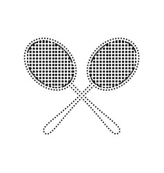 Tennis racquets sign black dotted icon on vector