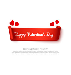 valentines day paper curl ribbon vector image vector image