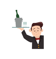 Waiter catering bottle champagne vector
