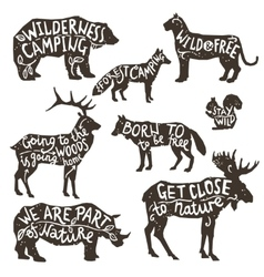 Wild animals silhouettes with lettering vector