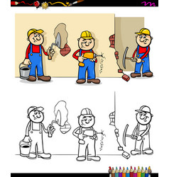 Workers and builders characters group color book vector